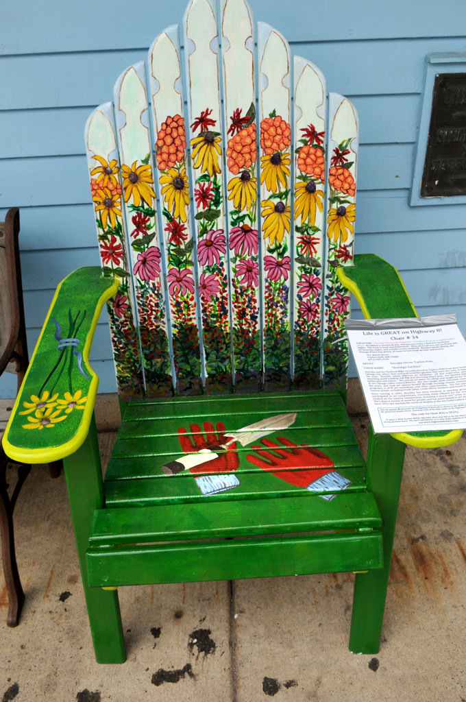 ". The ""Nostalgic Gardens\"" chair by Dorothy Chrun sits outside of Chisago House Restaurant in Taylors Falls. (Pioneer Press: Jean Pieri)"
