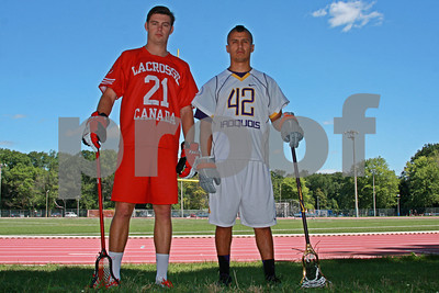8/10/2013 - Inside Lacrosse Photo Shoot with Kevin Crowley (Canada) and Jeremy Thompson (Iroquois) - Ron Joyce Stadium, Hamilton, ON