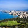 View of downtown Honolulu and Waikiki from Diamond Head Crater Summit, Hawaii