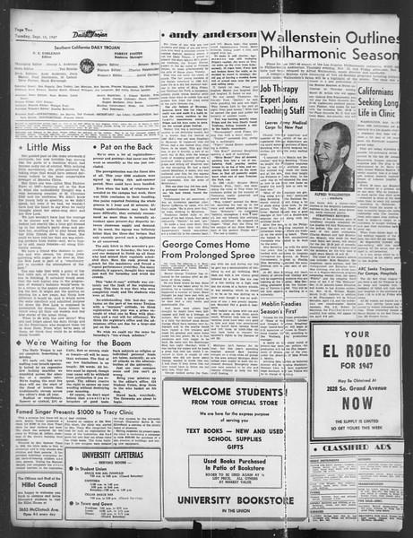 Daily Trojan, Vol. 39, No. 2, September 16, 1947