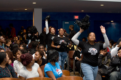 "Students from Central High School in High Point, N.C., cheer as they enter the auitorium at D.C.'s Eastern High School on December 3. The North Carolina students, who are participating in ""40 Days of Nonviolence: Building the Beloved Community,"" encouraged their local counterparts to take the 40-Day Pledge Against Nonviolence. The 40 days, which will start on the Martin Luther King Day of Service, Janaury 21, 2008, focuses on staying in school and performing service in honor of Dr. King. In 1994, Congress designated the King Holiday as a national day of service, and participation has grown each year, spearheaded by the Corporation for National and Community Service and thousands of community organizations, businesses, schools, and university groups nationwide. As part of this effort, the National Alliance of Faith and Justice has organized the PEN or PENCIL B.U.S. Boycott Service-Learning Movement, an effort to emphasize the importance of choosing the pencil (education) over the pen (penitentiary), and reduce behavior that might lead to negative contact with law enforcement. Organizations involved in the event included the National Alliance of Faith and Justice, Communities in Schools, and the Corporation for National and Community Service, the federal agency that sponsors the King Day of Service.    Corporation photo by M. T. Harmon, Office of Public Affairs."