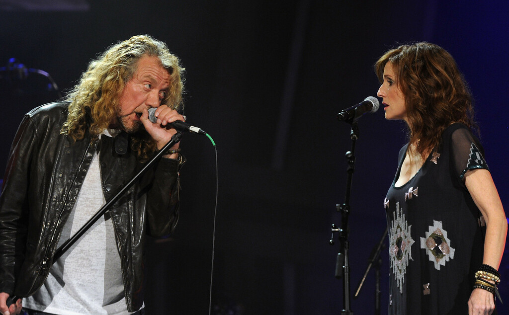 . Robert Plant and Patty Griffin & The Band of Joy performs during the 10th Americana Music Association honors and awards>> at the Ryman Auditorium on October 13, 2011 in Nashville, Tennessee.  (Photo by Rick Diamond/Getty Images)