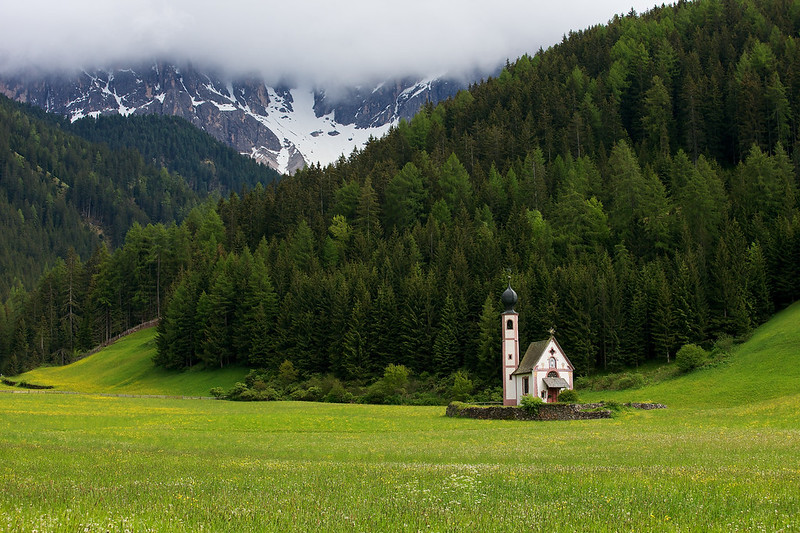 Val di Funes Church named San Giovanni church, it sits at the base of the Puez Odle mountains in a lovely green valley.