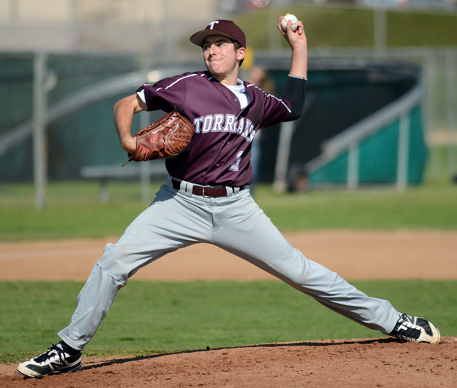 . Torrance pitcher Kyle Smith (2) opens the game against West in a non league baseball game at West on Thursday. After a scoreless game through five, West went on to win 7-4. 20130314 Photo by Steve McCrank / Staff Photographer