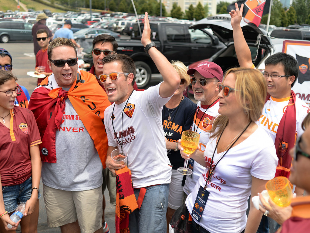 . AS Roma fans broke out in song an hour before the match got under way Saturday afternoon. Manchester United took on AS Roma in an exhibition soccer game at Sports Authority Field in Denver Saturday afternoon, July 27, 2014. Photo by Karl Gehring/The Denver Post
