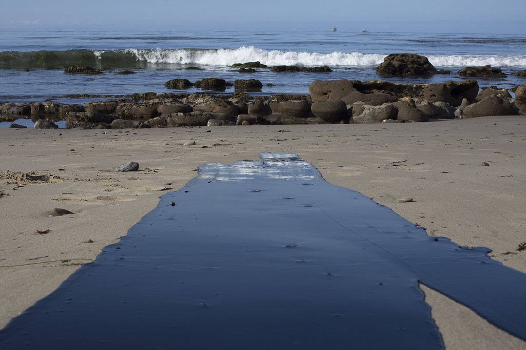 . Oil flows toward the ocean from an inland oil spill near Refugio State Beach on May 20, 2015 north of Goleta, California. About 21,000 gallons spilled from an abandoned pipeline on the land near Refugio State Beach, spreading over about four miles of beach within hours. The largest oil spill ever in U.S. waters at the time occurred in the same section of the coast where numerous offshore oil platforms can be seen, giving birth to the modern American environmental movement.  (Photo by David McNew/Getty Images)
