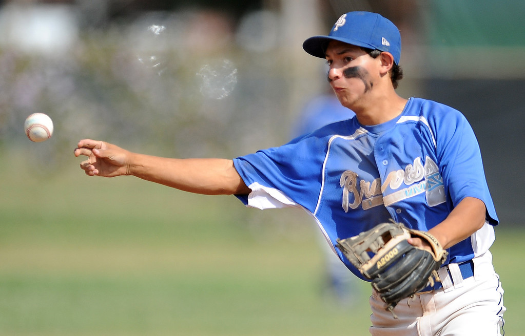 . Baldwin Park second baseman Justin Tellez throws out Northview\'s Gabe Rojo (not pictured0 in the second inning of a prep baseball game at Northview High School on Tuesday, April 23, 2012 in Covina, Calif. Northview won 8-2.    (Keith Birmingham/Pasadena Star-News)