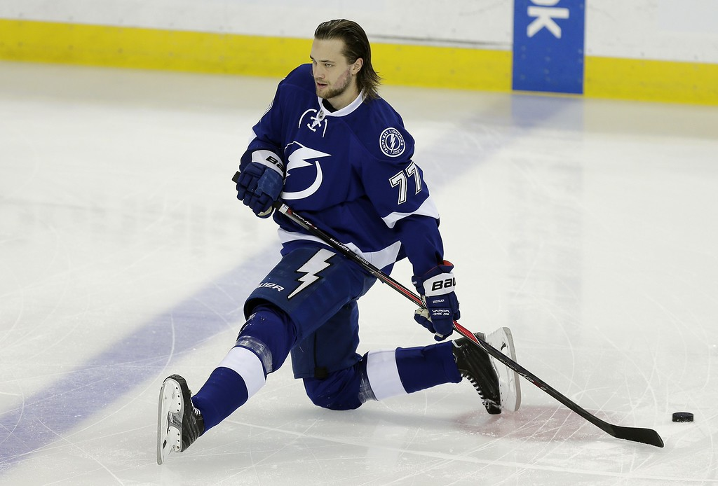 . Tampa Bay Lightning defenseman Victor Hedman before Game 7 of a first-round NHL Stanley Cup hockey playoff series against the Detroit Red Wings Wednesday, April 29, 2015, in Tampa, Fla. (AP Photo/Chris O\'Meara)