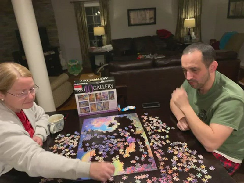 2020-10-22 Sharon and Kenny doing a puzzle in Wilbraham MA.MOV