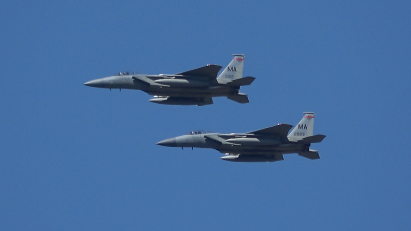 4-24-18...four F-15s returning to base (shot from Hampton Ponds beach)...AWESOME SHOTS