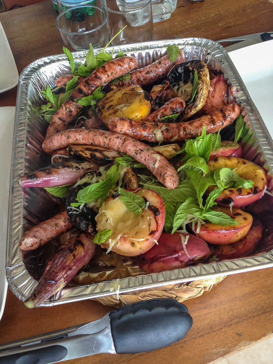 sausages and peaches