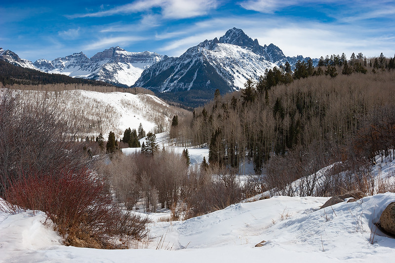 Mount Sneffels and Dallas Creek Valley in Winter
