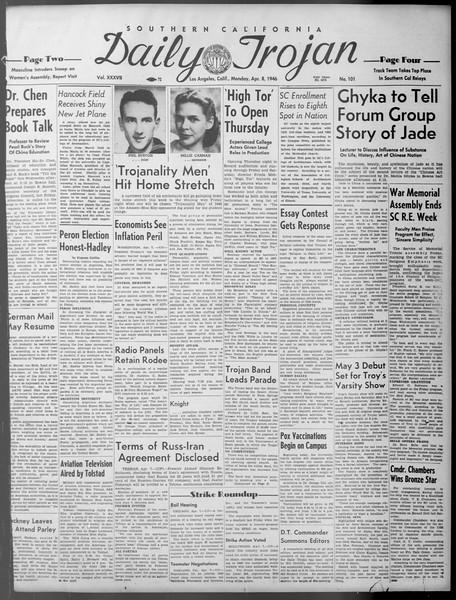 Daily Trojan, Vol. 37, No. 101, April 08, 1946