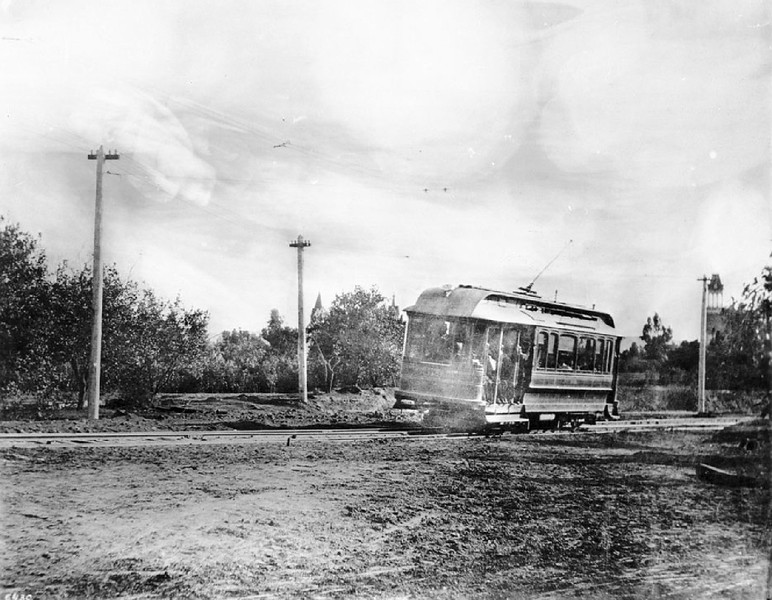 The first electric streetcar between Los Angeles and Pasadena, ca.1900