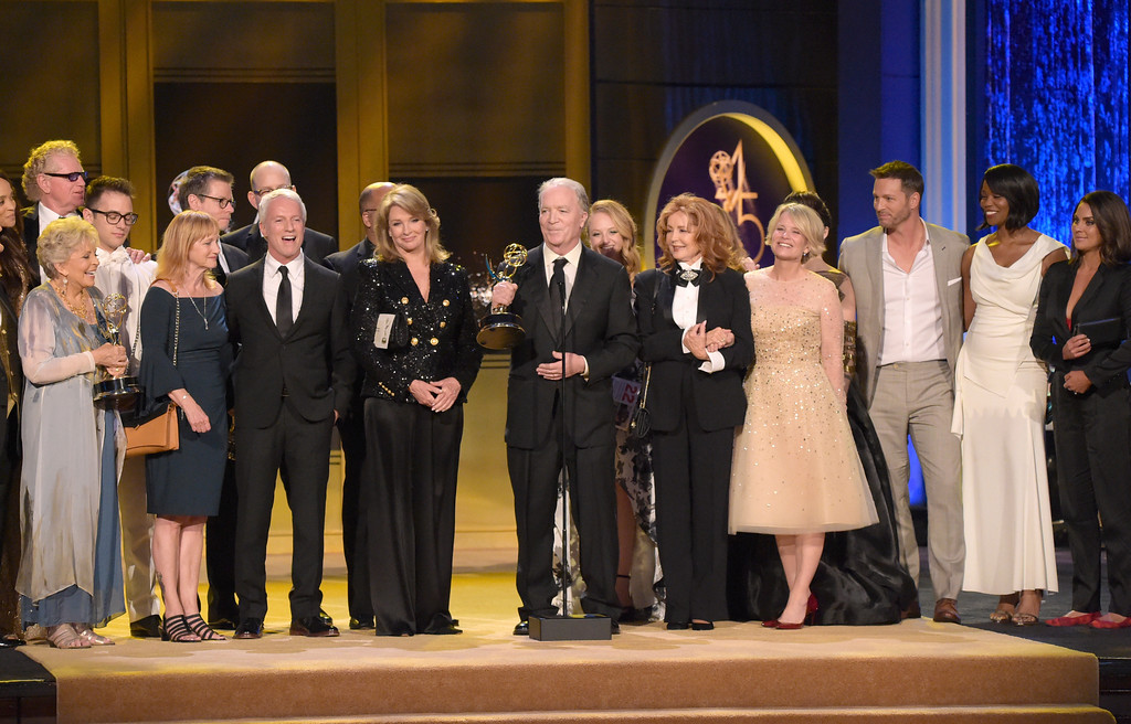 ". Ken Corday and the cast and crew of ""Days of Our Lives\"" accept the award for outstanding drama series at the 45th annual Daytime Emmy Awards at the Pasadena Civic Center on Sunday, April 29, 2018, in Pasadena, Calif. (Photo by Richard Shotwell/Invision/AP)"