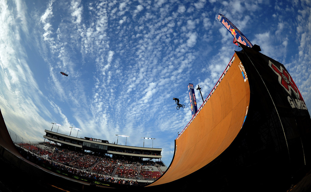 . Vince Byron finished second winning the silver medal during the GoPro BMX Big Air Final at Irwindale Speedway on Friday, Aug. 2, 2013 in Irwindale, Calif. Morgan Wade won the gold medal.  (Keith Birmingham/Pasadena Star-News)