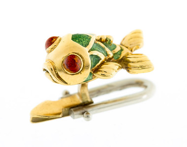 1960s Gold and Enamel Fish Cuff-Links (set of four)