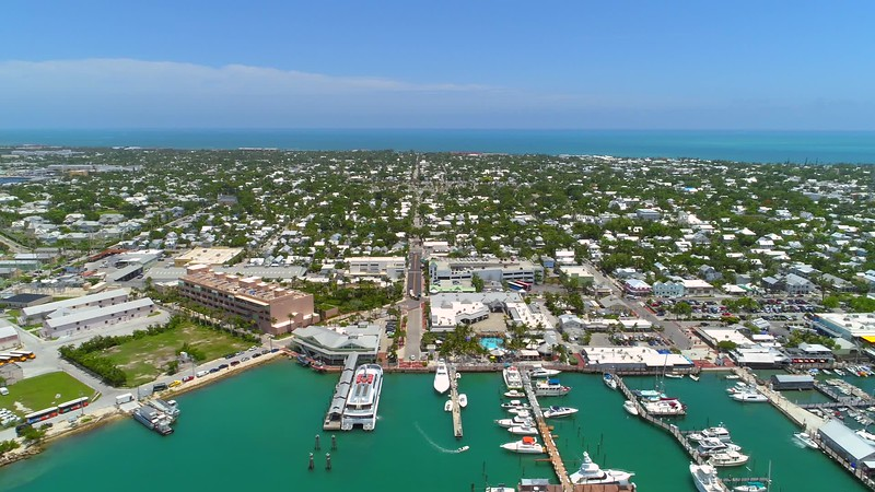 Aerial helicopter tour footage Key West Florida