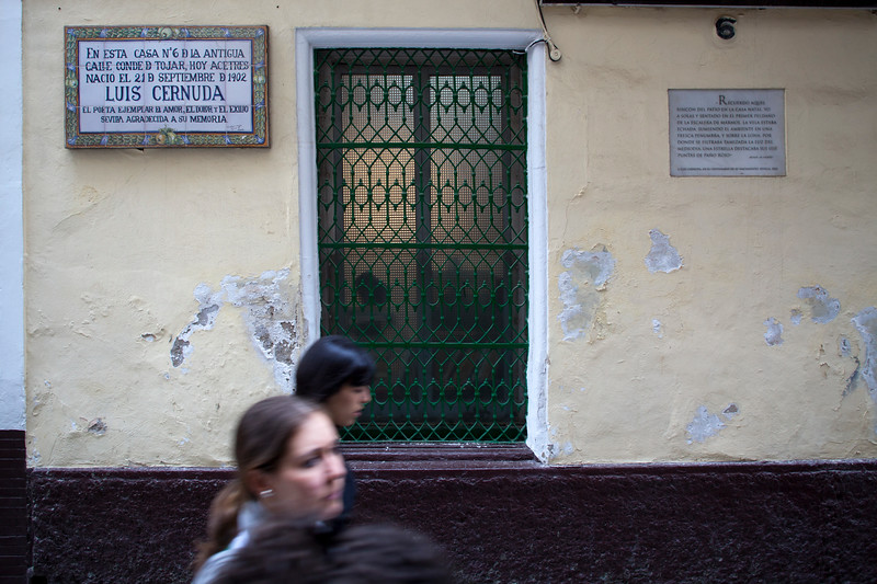 Birthplace of the poet Luis Cernuda on Acetres street, Seville, Spain