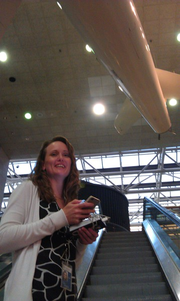 Vicki Portway (Manager of the NASM Web & New Media Division and @sluggernova) executes an ascending tweet at the at the Smithsonian's National Air and Space Museum (NASM)