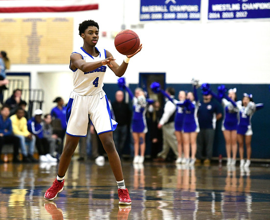 1/18/2019 Mike Orazzi | Staff Bristol Easterns Jahcyrus LawrenceBynum (4) during Friday nights boys basketball game with Bristol Central at Eastern.