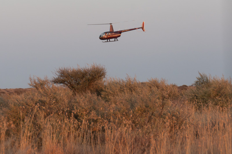 Helicopter flying over Mattanu Private Game Reserve in South Africa