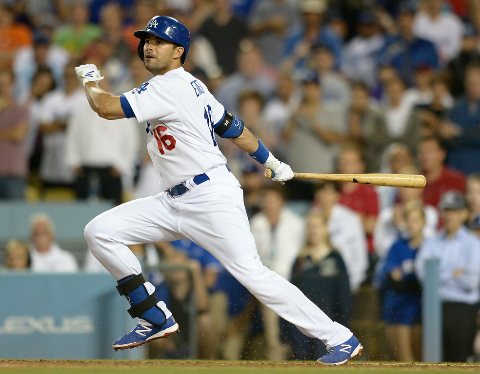 . Andre Eithier hit a single to score Juan Uribe and get the win in the 9th inning. The Dodgers defeated the Angels 5-4. Los Angeles, CA. 8/5/2014(Photo by John McCoy Daily News)