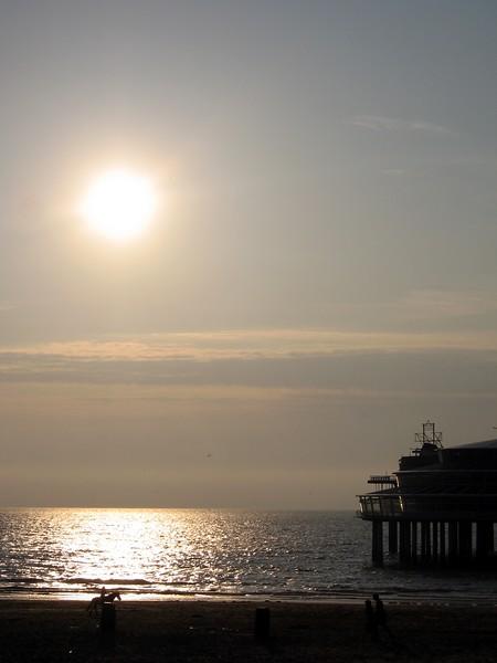 Sunset over the North Sea at Scheveningen, The Hague's beach resort