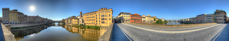 Three Bridges at Sunrise - Florence, Italy - June 6, 2013
