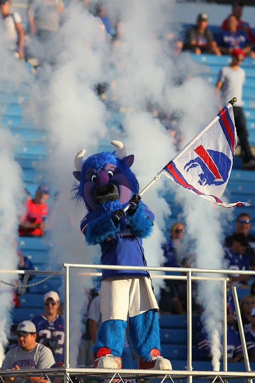 . A mascot cheers on as the Buffalo Bills takes the field before a preseason NFL football game against the Detroit Lions, Thursday, Aug. 28, 2014, in Orchard Park, N.Y. (AP Photo/Bill Wippert)
