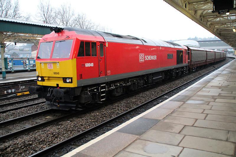 60040  0814/6v51 Arpley-Portbury back through the station after running round in ADJ.