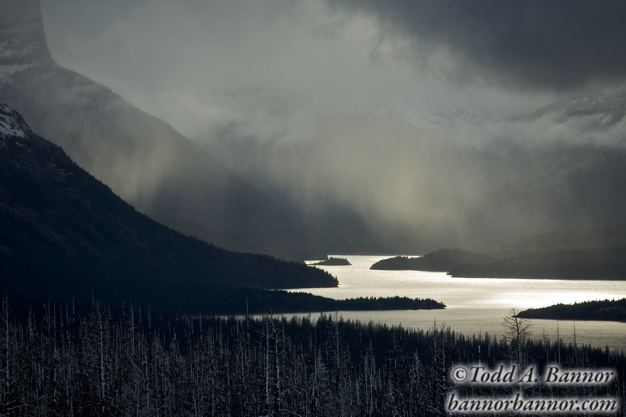 Winter storm over St. Mary's Lake. Glacier National Park, Montana.