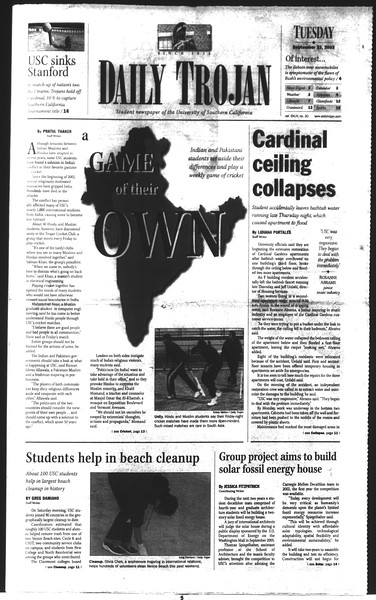Daily Trojan, Vol. 150, No. 20, September 23, 2003