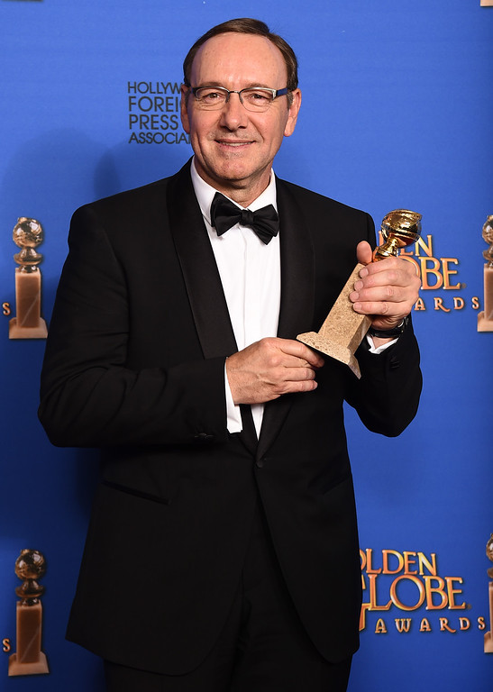 . Kevin Spacey poses in the press room with the award for best actor in a television series - drama for �House of Cards� at the 72nd annual Golden Globe Awards at the Beverly Hilton Hotel on Sunday, Jan. 11, 2015, in Beverly Hills, Calif. (Photo by Jordan Strauss/Invision/AP)