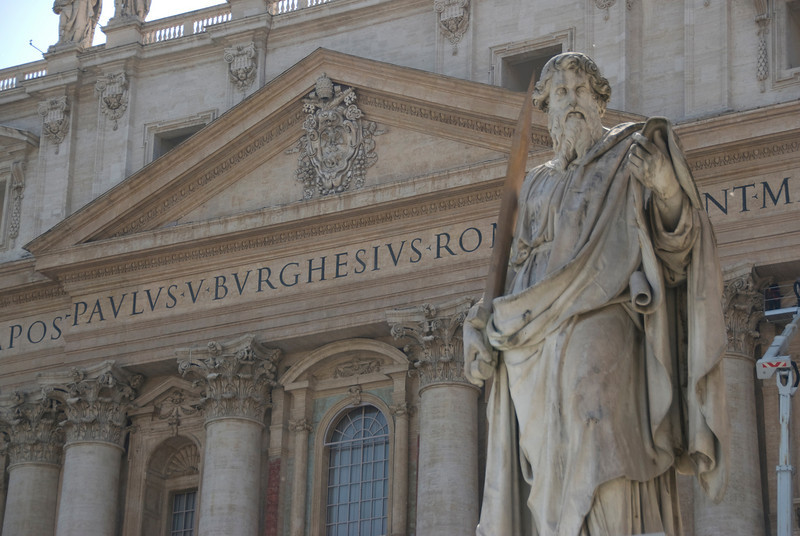 Statue of Saint Paul by Giuseppe De Fabris in front of St. Peter's Basilica - Vatican