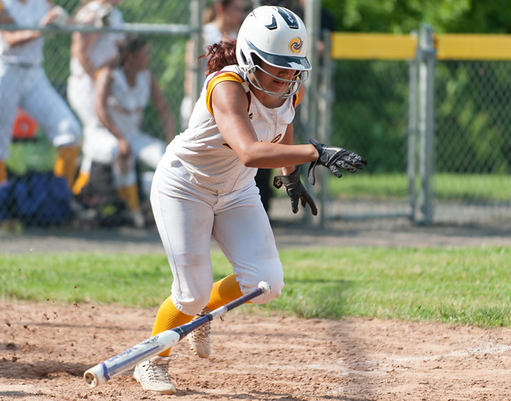 05/30/18 Wesley Bunnell | Staff New Britain softball defeated New Milford 13-10 in a first round CIAC Class LL tournament game on Tuesday afternoon at Martha Hart Park. Cristina Velazquez (3).