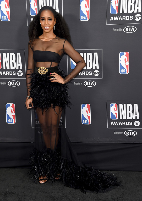 . Kelly Rowland poses in the press room at the NBA Awards on Monday, June 25, 2018, at the Barker Hangar in Santa Monica, Calif. (Photo by Richard Shotwell/Invision/AP)