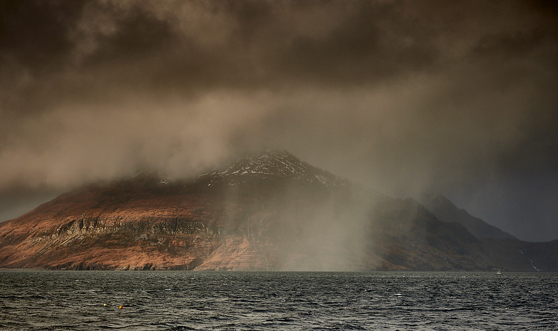 Snow showers viewed from Elgol