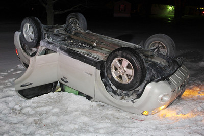 SUV Overturns near Lakeside Ballroom, SR54, Ryan Township (2-28-2014)