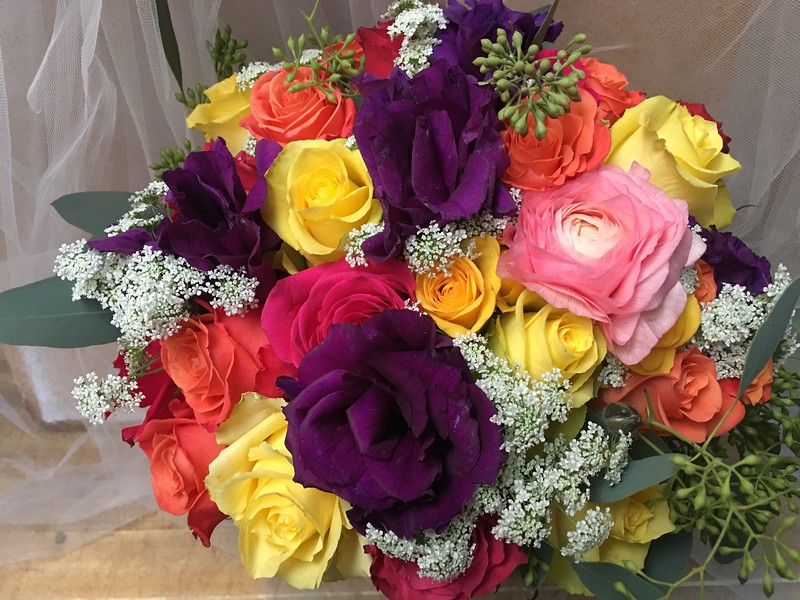 Fiesta Mexican wedding ,roses, lisianthus queen anne's lace $135