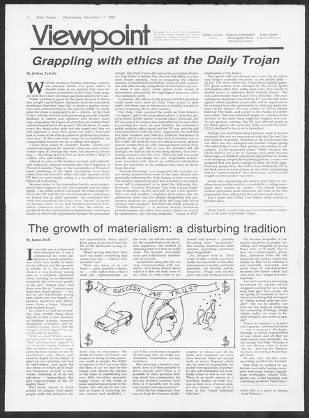 Daily Trojan, Vol. 100, No. 65, December 11, 1985