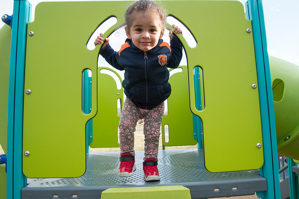 01/10/20 Wesley Bunnell | StaffrrKaishia Thompson, age 2, plays on a playscape on Friday January 10th at Chesley park while taking advantage of the mild weather with her mother Kaishia.