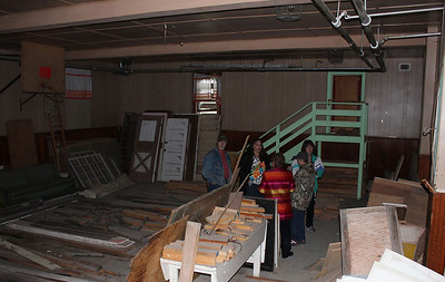 """Part of the old """"all purpose"""" basement; notice the basketball backboard at left."""