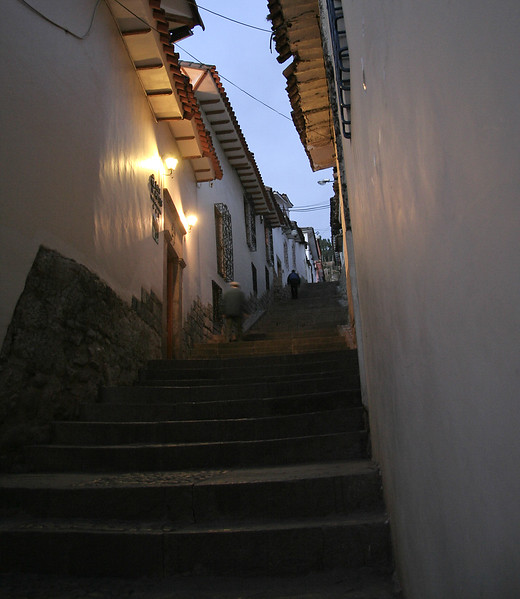 One of the steep stairwells in Cuzco that that shows how much of a hill the San Blas neighborhood is built on.