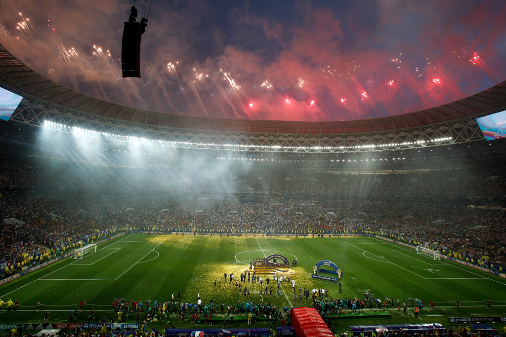 . Fireworks explode over the Luzhniki Stadium at the end of the final match between France and Croatia at the 2018 soccer World Cup in Moscow, Russia, Sunday, July 15, 2018. (AP Photo/Rebecca Blackwell)