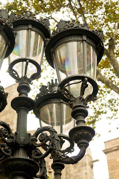 Light posts on Las Ramblas in Barcelona, Spain.