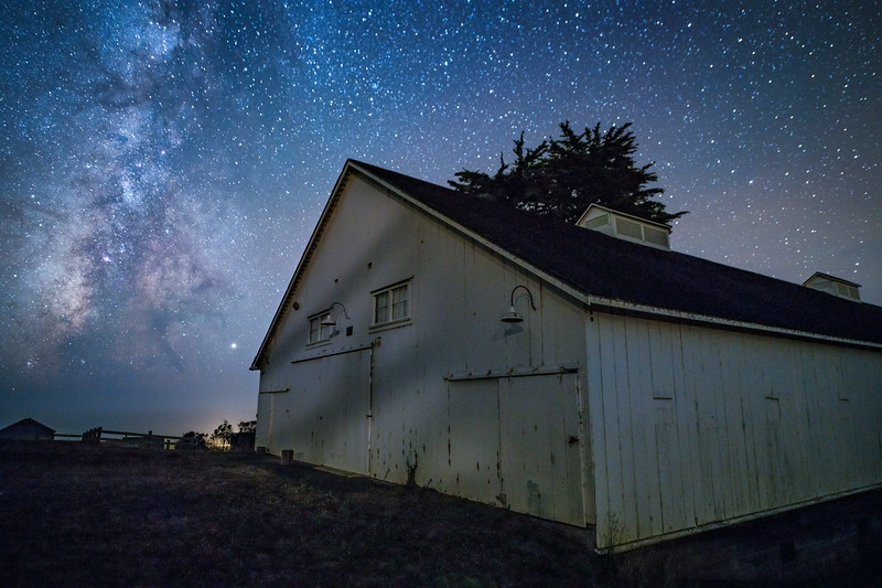 Milky Way & White Barn, Sea ranch, California