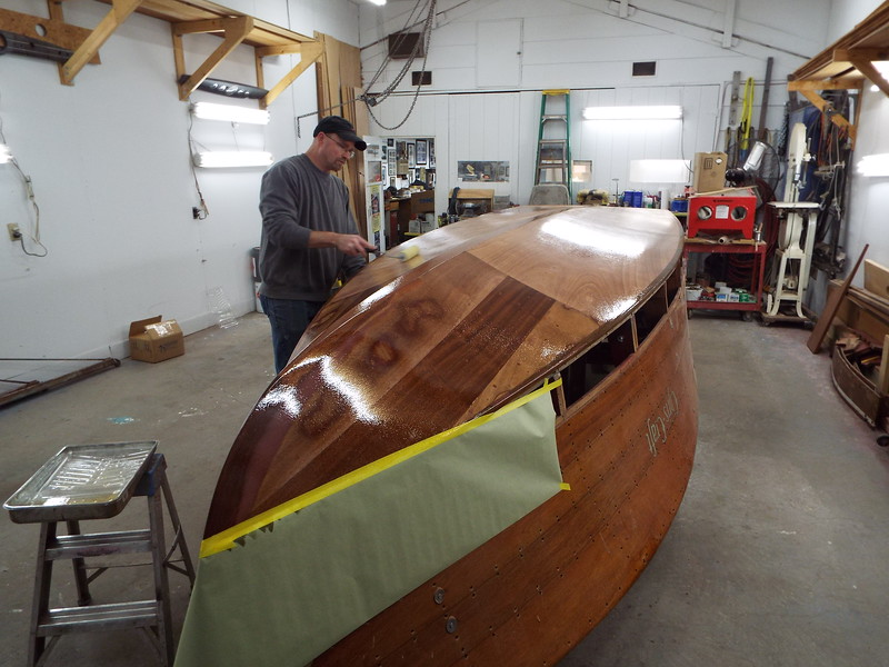 Starboard view of the three coats of epoxy applied.