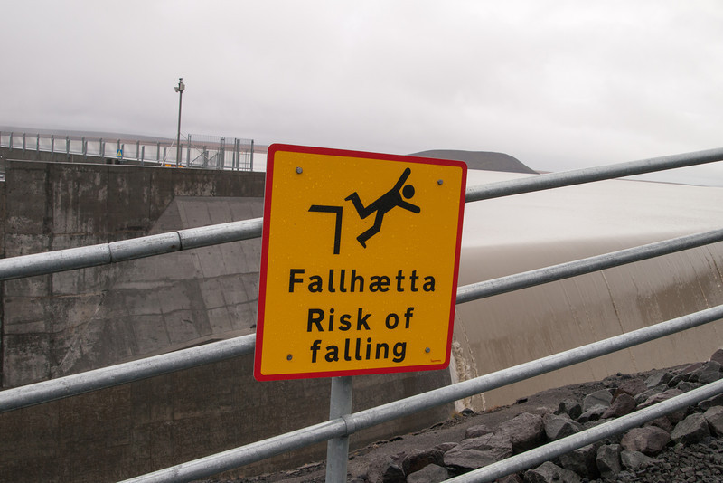 A descriptive sign at Karahnjukar Dam