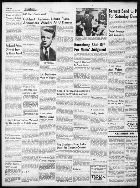 Daily Trojan, Vol. 38, No. 11, September 30, 1946
